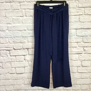 A NEW DAY navy blue wide leg pants with tie belt